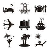 Icone della sistemazione e di viaggio Immagine Stock