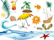 Icone della spiaggia Fotografia Stock