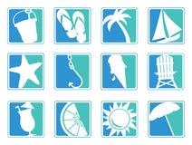 Icone della spiaggia Fotografie Stock Libere da Diritti