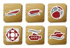 Icone della spiaggia e del mare   Serie del cartone illustrazione di stock