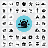 Icone della spiaggia impostate Fotografia Stock Libera da Diritti