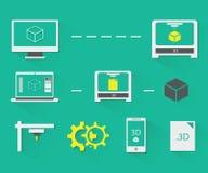 icone della stampa 3D messe Fotografie Stock Libere da Diritti