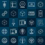 icone della stampa 3D messe Fotografie Stock
