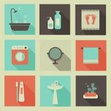 Icone della stanza del bagno Fotografia Stock Libera da Diritti