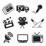 Icone della stazione televisiva Immagini Stock Libere da Diritti