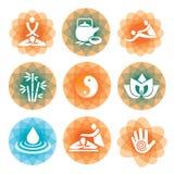 Icone della stazione termale di yoga di massaggio Fotografie Stock