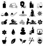 Icone della stazione termale su fondo bianco Fotografia Stock Libera da Diritti