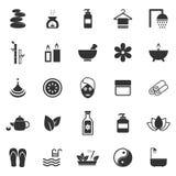 Icone della stazione termale su fondo bianco Fotografia Stock