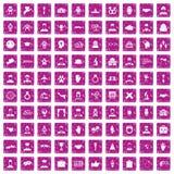 100 icone della stretta di mano hanno fissato il rosa di lerciume Fotografie Stock Libere da Diritti