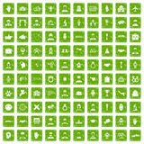 100 icone della stretta di mano hanno fissato il verde di lerciume Immagine Stock
