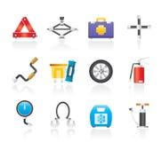 Icone della strumentazione di trasporto e dell'automobile Fotografia Stock