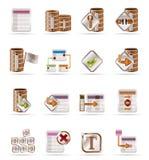 Icone della tabella e della base di dati Immagine Stock
