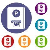 Icone della tassa di parcheggio messe Fotografia Stock