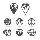 Icone della terra del globo messe su bianco Vettore Fotografie Stock Libere da Diritti