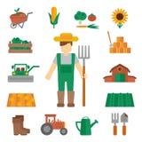 Icone della terra dell'agricoltore piane Immagini Stock