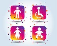 Icone della toilette del WC Maschio umano o segni femminili Fotografie Stock Libere da Diritti