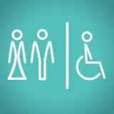 Icone della toilette, illustrazione di vettore. Fotografie Stock