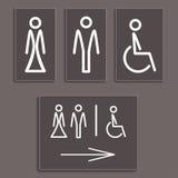 Icone della toilette, illustrazione di vettore. Fotografia Stock