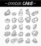 Icone della torta del fumetto di tiraggio della mano impostate illustrazione di stock