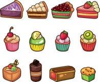 Icone della torta del fumetto impostate Fotografie Stock