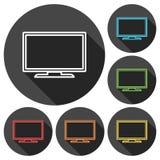 Icone della TV messe con ombra lunga Fotografie Stock