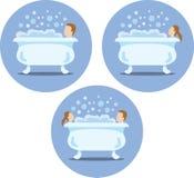 Icone della vasca da bagno Fotografia Stock