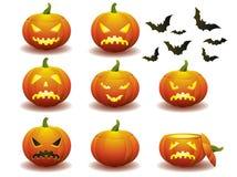 Icone della zucca di Halloween Immagini Stock Libere da Diritti