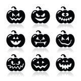 Icone della zucca di Halloween messe Fotografia Stock