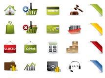 Icone delle aste e di acquisto Immagine Stock