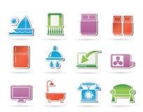 Icone delle attrezzature della stanza di motel e dell'hotel Immagini Stock Libere da Diritti