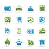 Icone delle attrezzature della stanza di motel e dell'hotel Fotografia Stock