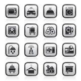 Icone delle attrezzature della stanza di motel e dell'hotel Fotografia Stock Libera da Diritti