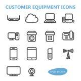 Icone delle attrezzature di comunicazione Fotografia Stock