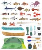 Icone delle attrezzature di pesca degli strumenti dell'uomo del pescatore di vettore illustrazione di stock