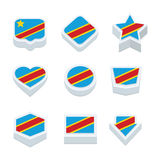 Icone delle bandiere della repubblica democratica del Congo ed insieme del bottone Fotografia Stock