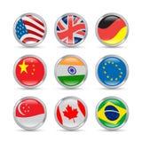Icone delle bandiere di paesi Immagini Stock