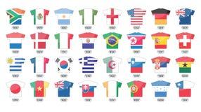 Icone delle bandierine di paesi, tazza di mondo 2010 Fotografia Stock Libera da Diritti