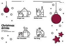 Icone delle bevande di Natale messe fotografia stock libera da diritti