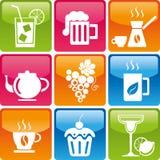 Icone delle bevande e dell'alimento Immagini Stock Libere da Diritti