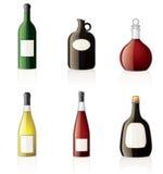 Icone delle bottiglie dell'alcool impostate Fotografia Stock