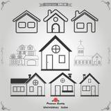 Icone delle Camere impostate Case del bene immobile?, appartamenti da vendere o per affitto Fotografia Stock