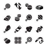 Icone delle caramelle e dei dolci Immagine Stock