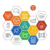 Icone delle celle dati - gioco e media Immagine Stock