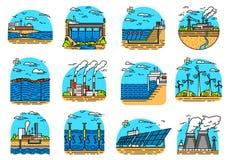 Icone delle centrali elettriche Insieme dei fabbricati industriali Fabbriche nucleari, vento geotermico e solare chimico Wave di  royalty illustrazione gratis