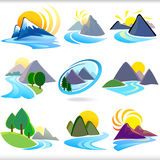 Icone delle colline e della montagna - Editable e la VE stratificata Fotografie Stock