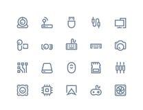 Icone delle componenti di computer Linea serie Fotografie Stock Libere da Diritti