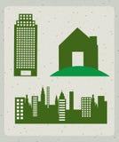 Icone delle costruzioni Fotografia Stock