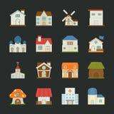 Icone delle costruzioni della città e della città, progettazione piana Fotografia Stock Libera da Diritti