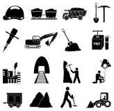 Icone delle costruzioni di estrazione mineraria messe Fotografia Stock