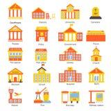 Icone delle costruzioni di governo messe Immagini Stock